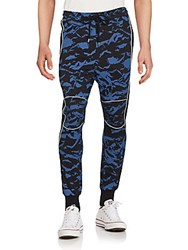 Markus Lupfer Mix Snow Cotton Printed Jogger Pants Navy