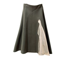 J. Chung Long Flare Skirt Grey