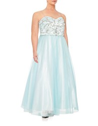 Xscape Evenings Beaded Tulle Gown Blue Ivory