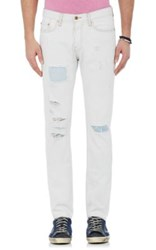 Nsf Men's Distressed Inset Jeans White