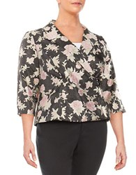 Alex Evenings Plus Floral Wrap Jacket Black Multi