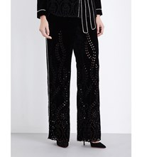 Alberta Ferretti Floral Embroidered Wide High Rise Velvet Trousers Black