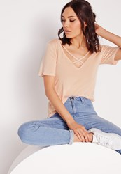 Missguided V Neck Cross Strap Front T Shirt Nude Beige