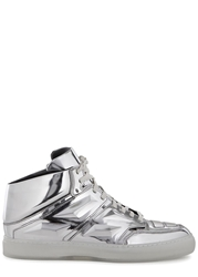 Alejandro Ingelmo Exotron Silver Leather Hi Top Trainers