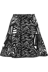 Issa Winnie Fluted Stretch Jacquard Mini Skirt Black