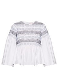 See By Chloe Smocked Cotton Poplin Top White