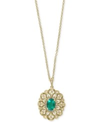 Effy Final Call Emerald 3 4 Ct. T.W. And Diamond 1 6 Ct. T.W. Pendant Necklace In 14K Gold Yellow Gold