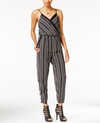 Bar Iii Printed Surplice Jumpsuit Only At Macy's Black Combo