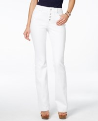 Inc International Concepts Button Fly White Wash Flare Leg Jeans Only At Macy's White Denim