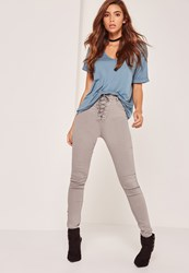 Missguided High Waisted Lace Up Skinny Jeans Grey