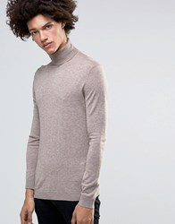 Minimum Thad Merino Roll Neck Jumper Warm Sand Beige