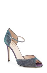 Women's Sjp By Sarah Jessica Parker By Sarah Jessica Parker 'Ursula' Open Toe D'orsay Metallic Leather Pump Silver Glow Fabric