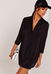 Missguided Cross Over Wrap Shirt Dress Black Black