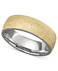 Triton Men's Two Tone Gold Ring 14K Gold And 14K White Gold Comfort Band
