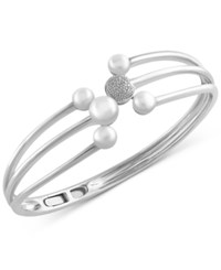 Effy Collection Effy Cultured Freshwater Pearl 5.5Mm 7Mm And Diamond Accent Bangle Bracelet In Sterling Silver