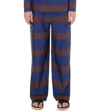 Tonsure Oversize Striped Chinos Blue And Golden