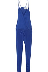 Michelle Mason Wrap Effect Silk Chiffon And Washed Silk Jumpsuit Royal Blue