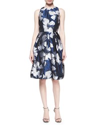 Carmen Marc Valvo Sleeveless Floral Fit And Flare Dress Size 10 Black