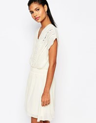 Moon River Cinched Waist Dress With Lace Embroidery Cream