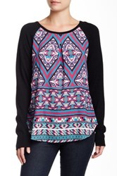 Hale Bob Knit And Printed Woven Contrast Pullover Black