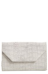 Halogen Angled Leather Day Clutch Grey