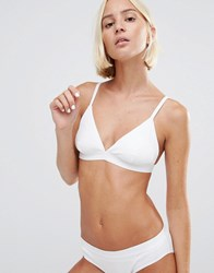 Weekday Vivi Cotton Rib Triangle Bra White