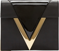 Versus Black Leather Gold V Anthony Vaccarello Edition Clutch