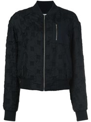 Grey Jason Wu Textured Check Bomber Jacket Black