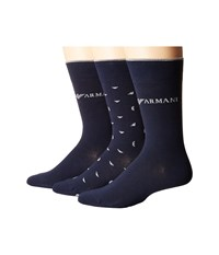 Emporio Armani Stretch Cotton Color Basic 3 Pack Short Socks Navy Men's Crew Cut Socks Shoes