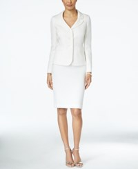 Le Suit White Textured Jacket Skirt Suit Natural
