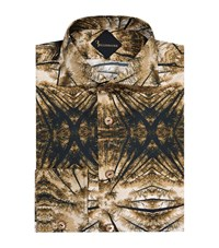Billionaire Slim Fit Abstract Canopy Print Shirt Male Brown