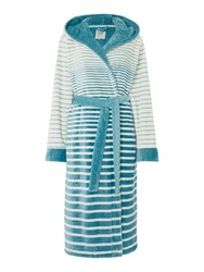 Dickins And Jones Graduated Stripe Robe Duck Egg