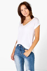 Boohoo V Neck Oversized Slub T Shirt White