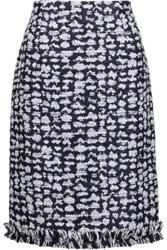 Oscar De La Renta Fringed Tweed Pencil Skirt Midnight Blue