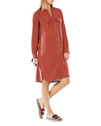 Bcbgmaxazria Maddox Silk Shirt Dress Henna