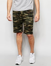 Asos Slim Shorts In Jersey With Camo Print Khaki Green