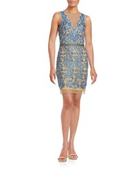 Nicole Miller V Back Embroidered Dress Blue