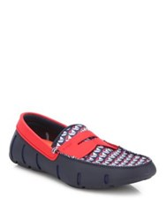 Swims Mesh Penny Slot Loafers Navy Sail