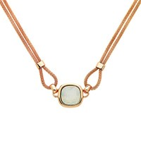 Finesse Double Mesh Glass Crystal Necklace Rose Gold Opal
