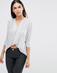 Ax Paris Knitted Long Sleeve Wrap Top Silver Grey