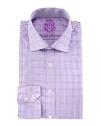 English Laundry Plaid Print Long Sleeve Dress Shirt Purple