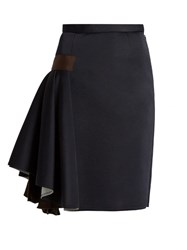 Kolor Ruffled Side Contrast Panel Skirt Navy