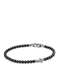 David Yurman Spiritual Beads Cross Bracelet With Black Onyx In Sterling Silver Black Silver