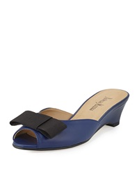 Neiman Marcus Barnet Leather Tuxedo Mule Storm Blue Black