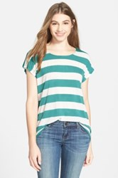 Gibson Ribbed Button Back Stripe Tee Green