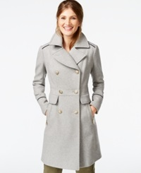 Vince Camuto A Line Military Walker Coat Light Grey