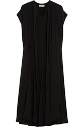Balenciaga Pleated Silk Dress Black