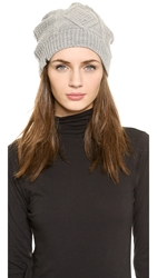 Plush Cable Knit Beanie Heather Grey
