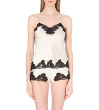 Nk Imode Silk Satin And Lace Camisole Champagne Black Lace