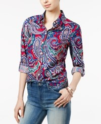 Tommy Hilfiger Pia Paisley Roll Tab Shirt Persian Red